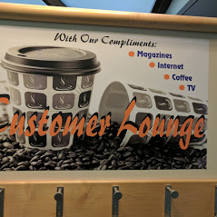 Customer Lounge Sign Board which describes about the amenities