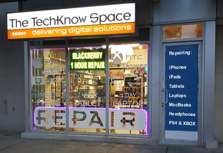 The TechKnow Space Walk In Repair Centre - 387 Front St West, Toronto Ontario